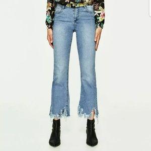 Zara Trafaluc High Waist Cropped Flare Jeans 10